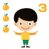 Vector cartoon boy learning game card Royalty Free Stock Image