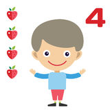 Vector cartoon boy learning game card Royalty Free Stock Images