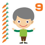 Vector cartoon boy learning game card Royalty Free Stock Photography