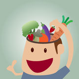 Vector cartoon of Brains food concept Stock Photo