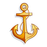 Vector cartoon bright yellow marine anchor Royalty Free Stock Images