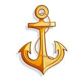 Vector cartoon bright yellow marine anchor Royalty Free Stock Images