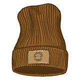 Vector Cartoon Casual Knitted Cap with Brown Leather Label. Stock Photos