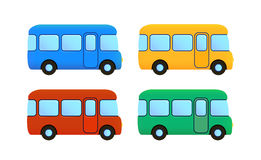 Vector cartoon bus icon set. color car. Vector cartoon flat bus icon set. color car - blue, yellow, red. green, school Stock Photo