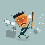 Vector cartoon Business man goes mad at the office Stock Image