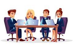 Vector cartoon business meeting, conference vector illustration
