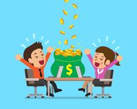 Vector cartoon business people earning money. For design Royalty Free Stock Photo