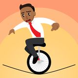 Business Man Balancing on a Unicycle on a Tightrope Tanned Version vector illustration