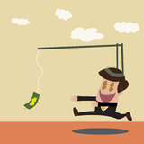 Vector cartoon of Businessman chasing money trap Stock Photography