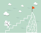 Vector cartoon businessman climb up the ladder to the top Royalty Free Stock Image