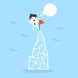Vector cartoon businessman climb up to the top Stock Photo