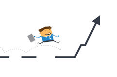 Vector cartoon. Businessman running and jumping on business line graph Royalty Free Stock Image