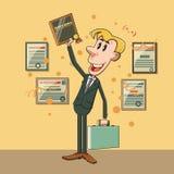 Vector cartoon businessman winner diploma Stock Image