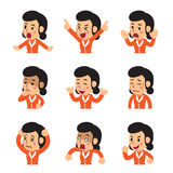 Vector cartoon businesswoman faces showing different emotions. For design Royalty Free Stock Image