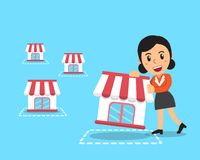 Vector cartoon businesswoman with franchise business concept. For design Stock Image