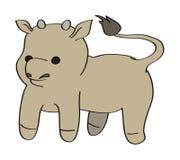 Vector cartoon calf. Vector funny little toy bull Stock Photo