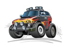 Cartoon 4x4 car. Vector Cartoon 4x4 Car. Available EPS-10 vector format separated by groups and layers for easy edit vector illustration