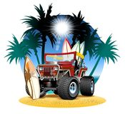 Vector cartoon 4x4 car on beach. Available AI-CS4 vector format separated by groups and layers vector illustration