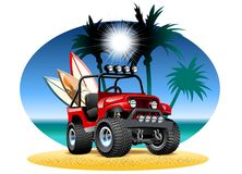 Vector cartoon 4x4 car on beach. Available EPS-10 vector format separated by groups and layers for easy edit royalty free illustration