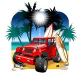 Vector cartoon 4x4 car on beach. Available AI-CS4 vector format separated by groups and layers stock illustration