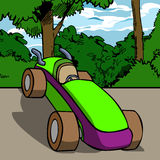 Vector cartoon car in the country road Stock Photos
