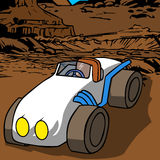 Vector cartoon car in the desert Stock Photos