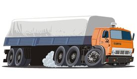 Vector cartoon cargo semi truck. Vector illustration of cartoon delivery / cargo truck. Available AI-10 vector format separated by groups for easy edit Stock Image