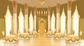 Vector cartoon castle hall, ballroom for dancing. Vector cartoon illustration of castle hall, ballroom for dancing, royal receptions, dinners or banquets stock illustration