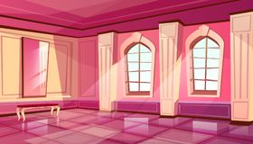 Vector cartoon castle palace ballroom background. Vector cartoon castle palace ballroom interior in purple color, background with furniture - big windows, mirror royalty free illustration