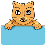 Vector cartoon cat with a poster Royalty Free Stock Images
