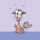 Vector cartoon cat in trouble Royalty Free Stock Photography