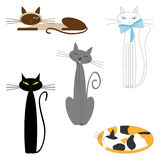 Vector cartoon cats set Royalty Free Stock Photos