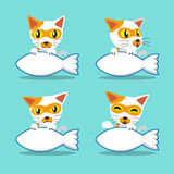 Vector cartoon character cat with big fish sign Royalty Free Stock Images