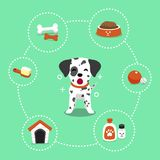 Vector cartoon character dalmatian dog and accessories. For design Stock Photography