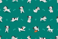 Vector cartoon character dalmatian dog seamless pattern. For design Stock Photo