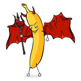 Vector Cartoon Character - Devil Banana. With a Trident, Wings and Horns Stock Photos