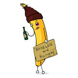 Vector Cartoon Character - Homeless Banana. On White Background Stock Images