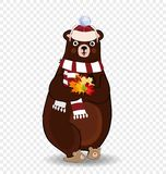 Cute autumn bear in white knitted scarf and hat holding maple leaves isolated clip art. Vector Illustration
