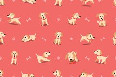 Vector cartoon character labrador dog seamless pattern. For design Stock Image
