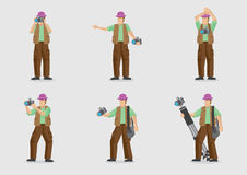 Vector Cartoon Character for Photography. Man carrying camera and other photography equipment in different gestures. Vector cartoon character illustration  on Stock Images