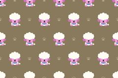 Vector cartoon character poodle dog seamless pattern background. For design royalty free illustration