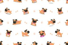 Vector cartoon character pug dog seamless pattern. For design royalty free illustration