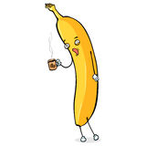 Vector Cartoon Character - Sleepy Banana with Cup of Coffee Stock Image