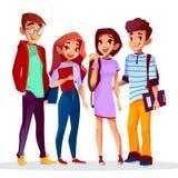 Vector cartoon cheerful college students set. stock illustration