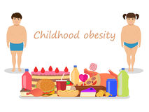 Vector cartoon childhood obesity. Children obese. Vector illustration of cartoon fat kids with harmful fatty food. Concept of childhood obesity. Children Stock Photography