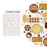 Vector cartoon chinese cuisine food background Stock Image