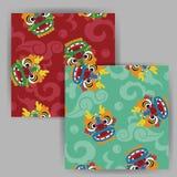 Vector Cartoon Chinese Dragon Head Seamless Pattern Royalty Free Stock Photo