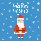 Vector cartoon Christmas card with Santa. Vector illustration with cartoon holiday card or invitation for Merry Christmas or Happy New Year: character Santa Royalty Free Stock Photography