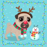 Vector cartoon Christmas dog in a frame of garlands. Symbol of new year 2018. Color illustrations with cute pug in a deer costume and snowman. Winter background Vector Illustration