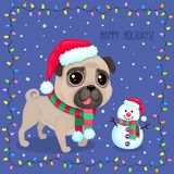 Vector cartoon Christmas dog in a frame of garlands. Symbol of new year 2018. Color illustrations with cute pug in Santa`s hat and snowman. Winter background Stock Illustration